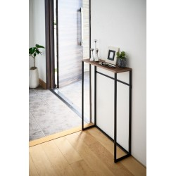 Wood accent console table black
